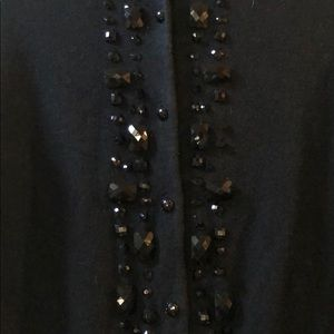 New York & Company Sweaters - Black cardigan with neck and center beading.